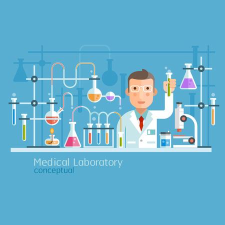 experimento: Laboratorio Médico conceptual. Ilustración del vector.