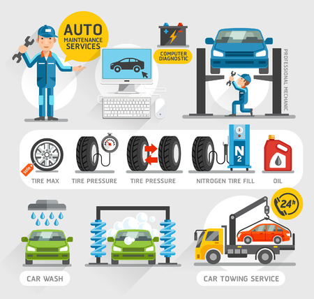 car tire: Auto Maintenance Services icons. Vector illustration.