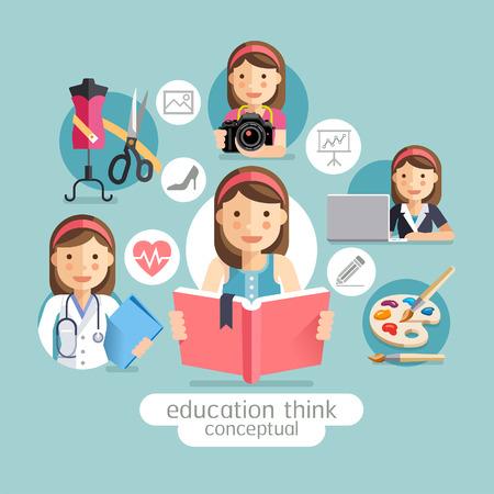 교육: 교육 개념 생각. 여자는 책을 들고. 벡터 일러스트. 일러스트