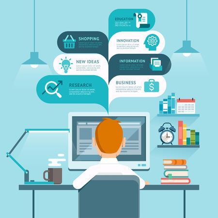 počítač: Podnikatel pomocí počítače. Vektorové ilustrace. Ilustrace