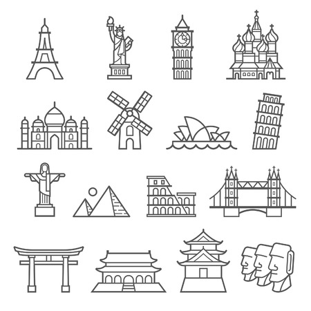 Landmark Icons. Statue of Liberty, Toren van Pisa, de Eiffeltoren, de Big Ben, Taj Mahal, Saint Basil's Cathedral, Christus de Verlosser, Windmill, Sydney Opera House, Piramid, Colosseum, London Bridge, Fushimi Inari Shrine, Verboden Stad, Osaka Castle, Moai Sta