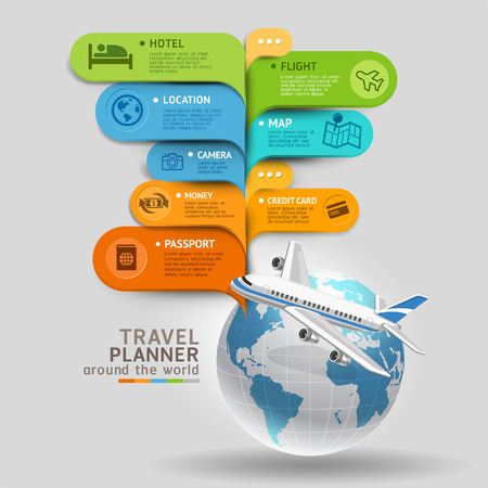 Organisateur de Voyage autour du monde. Vector illustration.