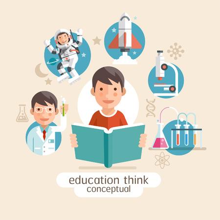 gente pensando: Educación pensamiento conceptual. Niños que sostienen los libros. Ilustraciones del vector.