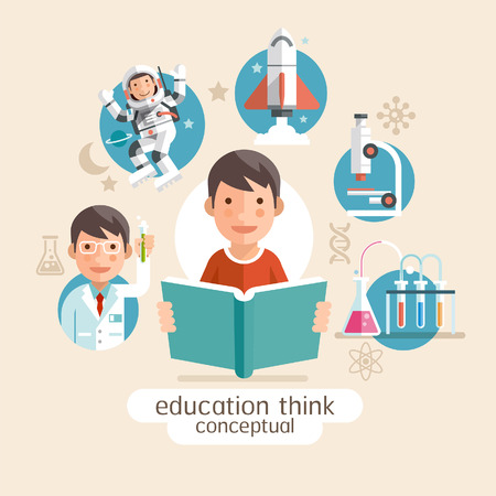 cartoon rocket: Education thinking conceptual. Children holding books. Vector illustrations.