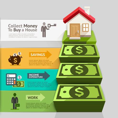 casale: Affari Property Concept. Raccogliere i soldi per comprare una casa. Illustrazione vettoriale. Può essere utilizzato per il layout del flusso di lavoro, bandiera, diagramma, opzioni di numero, web design, infografica.