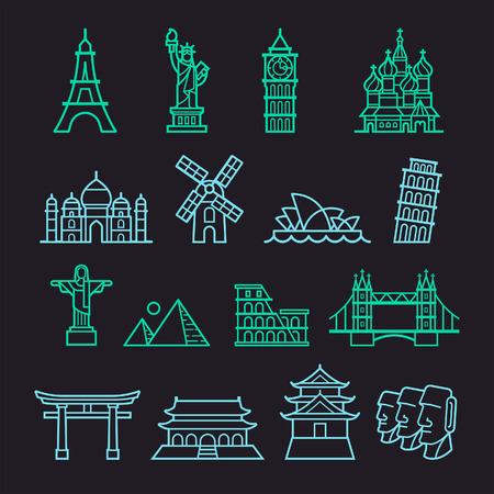 moai: Iconos Landmark. Estatua de la Libertad, la Torre de Pisa, la Torre Eiffel, el Big Ben, el Taj Mahal, la Catedral de San Basilio, Cristo el Redentor, Molino de viento, Sydney Opera House, Piramid, el Coliseo, el Puente de Londres, Fushimi Inari, la Ciudad Prohibida, el Castillo de Osaka, Moai Sta