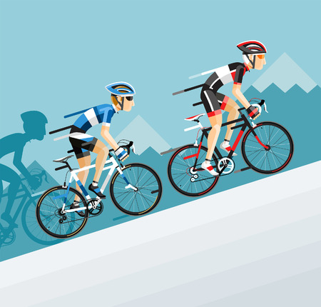 bicicleta: El Grupo de ciclistas hombre en Ciclismo en ruta ir a la montaña. Vector ilustrador.