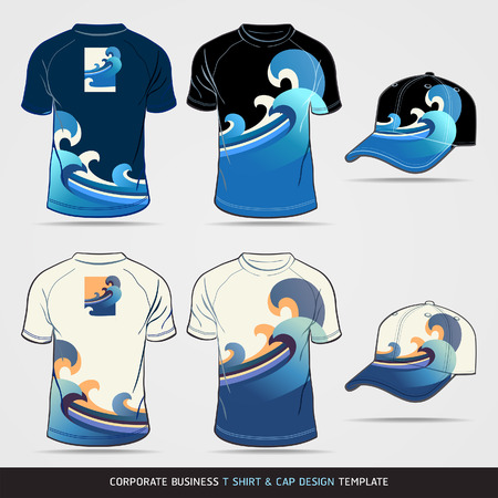 apparel: Corporate Identity Business Set. T-shirt and cap Design Template. Vector illustration.