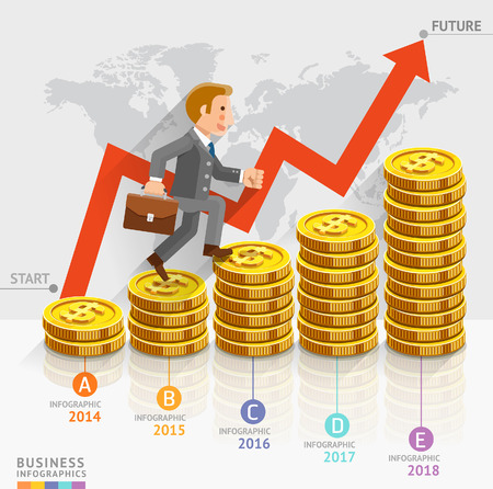 coins stack: Businessman running on gold coins money stack. Vector illustration. Can be used for workflow layout, banner, diagram, number options, web design, timeline, infographics template. Illustration