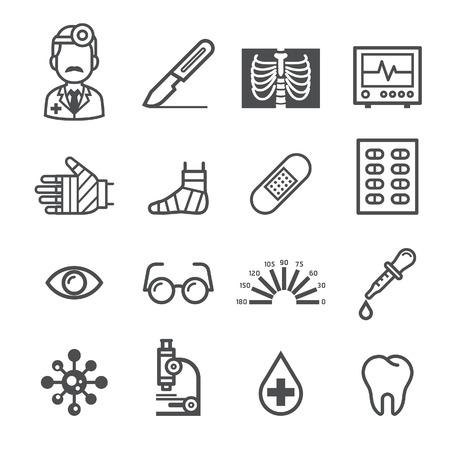 Geneeskunde en Gezondheid iconen. Vector illustraties.