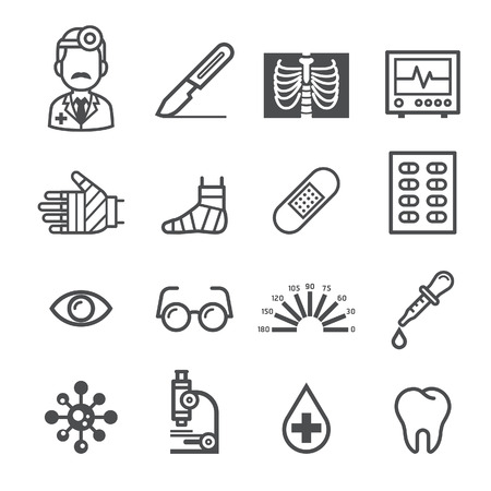 eye exams: Medicine and Health icons. Vector illustrations. Illustration