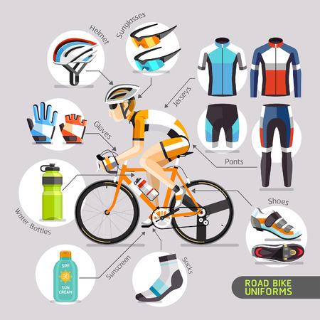 silueta ciclista: Uniformes bici del camino. Ilustración del vector.