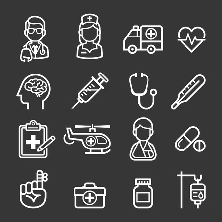 Medicine and Health icons. Vector illustrations. Vettoriali