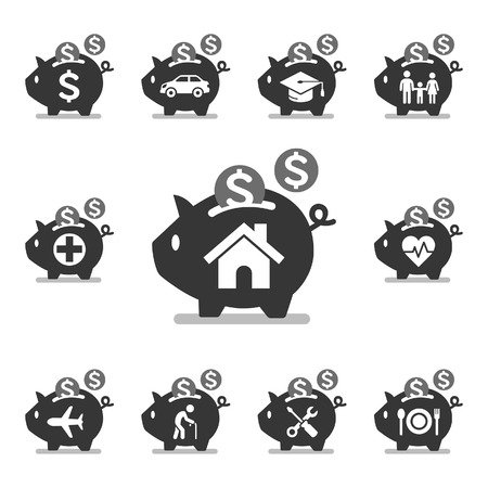 save money: Piggy bank icons. Vector illustrations.