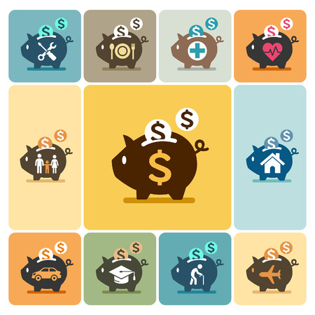 family home: Piggy bank icons. Vector illustrations.