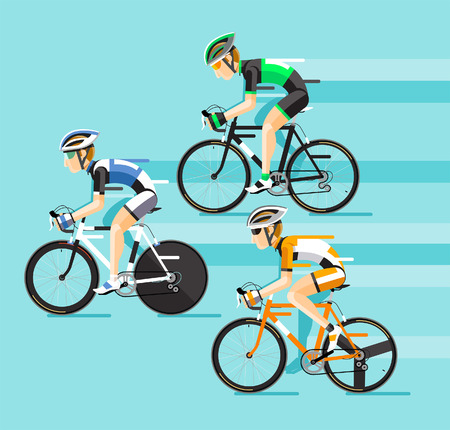 exercise cartoon: The Group of cyclists man in road bicycle racing. Vector illustrator. Illustration