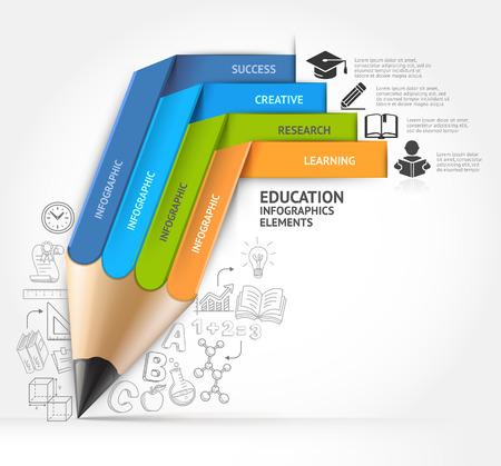 escuelas: Lápiz Educación escalera opción Infografía. Ilustración del vector. se puede utilizar para el diseño de flujo de trabajo, bandera, diagrama, opciones numéricas, intensificar opciones, diagrama, diseño de páginas web.
