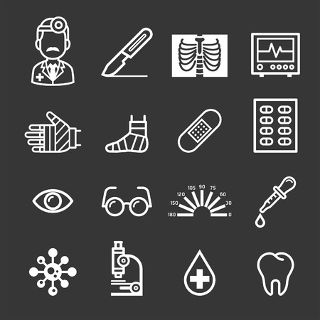 optometrist: Medicine and Health icons. Vector illustrations. Illustration