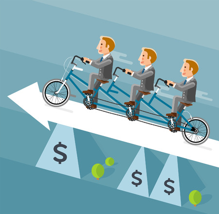 illustrator  vector: Businessman riding a long bicycle on white arrow. Vector illustrator.