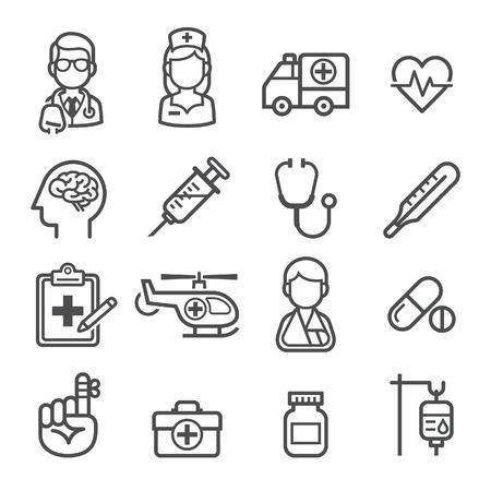 health: Geneeskunde en Gezondheid iconen. Vector illustraties.