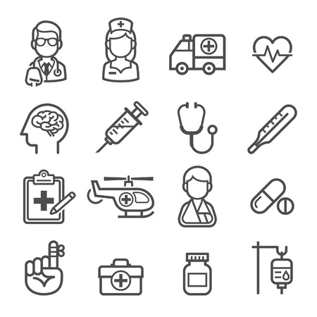 SALUD: Medicina y Salud iconos. Ilustraciones del vector.