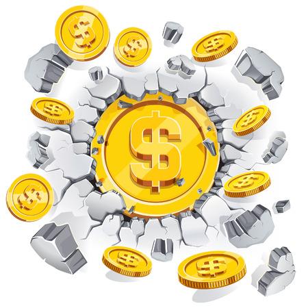 monedas antiguas: La moneda de un d�lar de oro rompiendo el fondo de la pared de hormig�n. Ilustraci�n del vector.