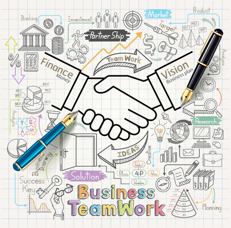 business partnership: Business teamwork concept doodles icons set