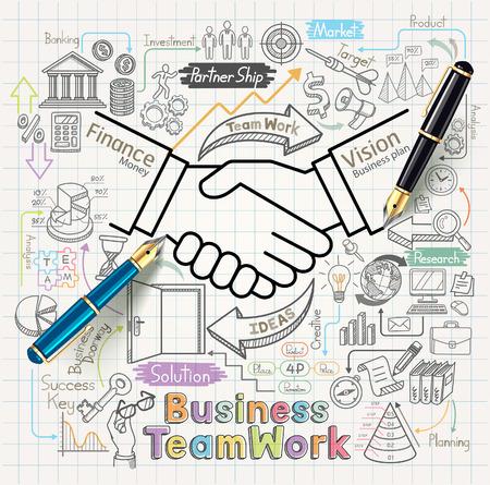 biznes: Koncepcja pracy zespołowej działalności ustawić doodles ikony Ilustracja