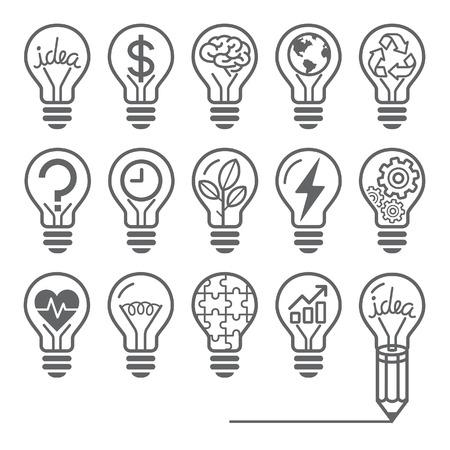 cerebro blanco y negro: Bombilla iconos línea concepto de estilo Vectores