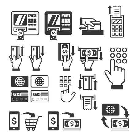 credit card payment: ATM icons