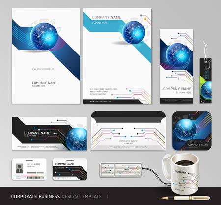 コーポレート ・ アイデンティティのビジネス デザインを設定  イラスト・ベクター素材