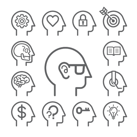 brain: Head line icons set