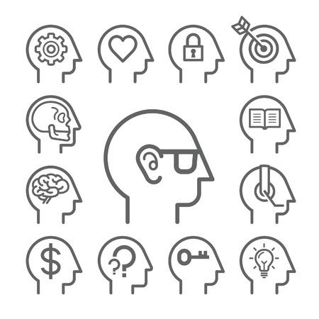 cerebro blanco y negro: Iconos línea Head Set