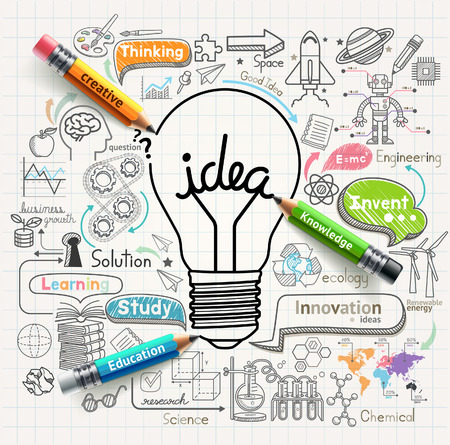 innovation: Ideas Bombilla concepto doodles iconos Conjunto Vectores