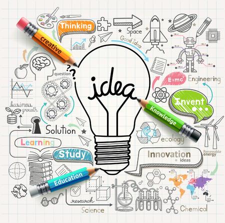 cerebro blanco y negro: Ideas Bombilla concepto doodles iconos Conjunto Vectores