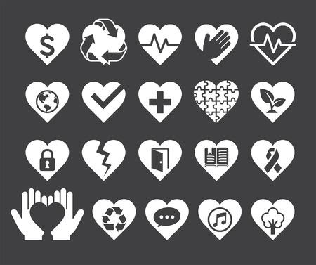 Concetto di amore del cuore di stile icone delle linee