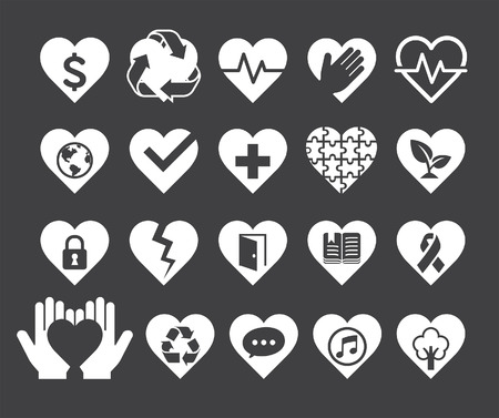 green heart: Love concept heart line icons style