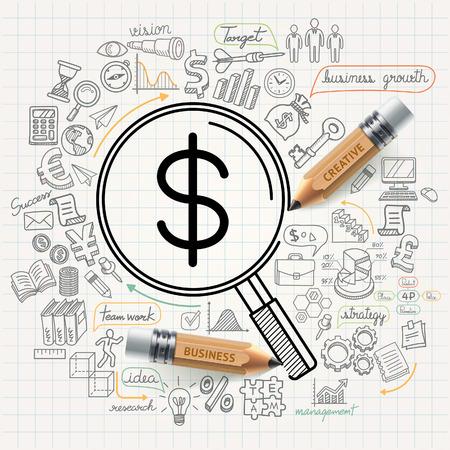 いたずら書きのビジネス概念のアイコンを設定  イラスト・ベクター素材