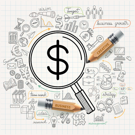 Business concept doodles pictogrammen instellen