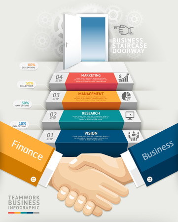 Business teamwork staircase doorway conceptual infographics