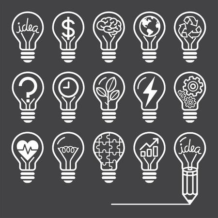 dessin au trait: Ampoule icônes de lignes notion de style Illustration
