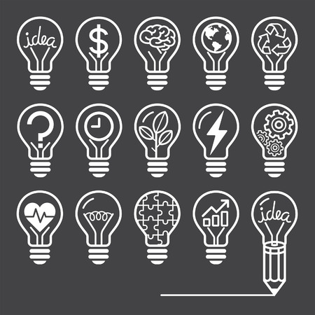 black and white line drawing: Light bulb concept line icons style
