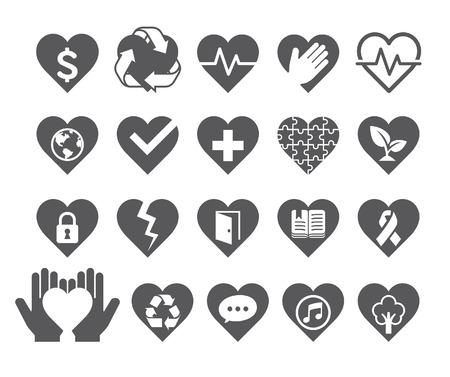 Corazón del amor concepto iconos de estilo de línea Vectores