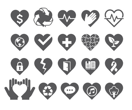 global health: Love concept heart line icons style