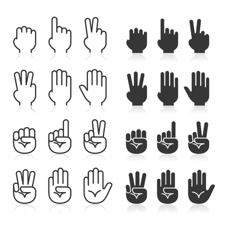 Hand gestures line icons set.  Illustration
