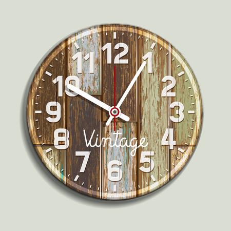 wood panel: Clock on old wood background. Vector illustration.