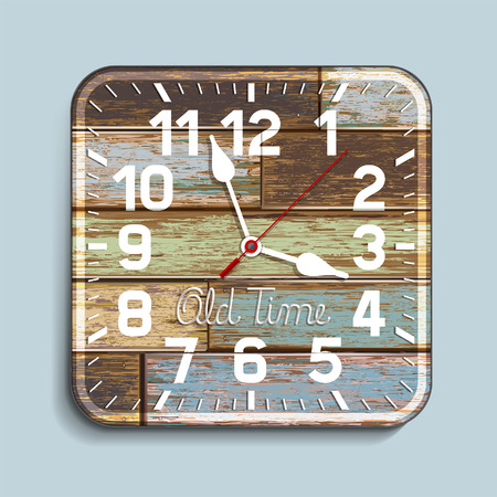 second floor: Clock on old wood background. Vector illustration.
