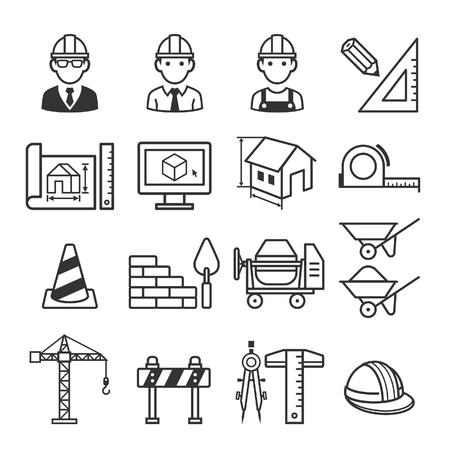 zestaw ikon ciężarówka budowlana. Ilustracje wektorowe