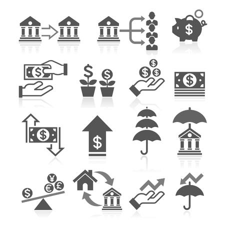 conjunto: Iconos de negocios concepto de banca establecen.