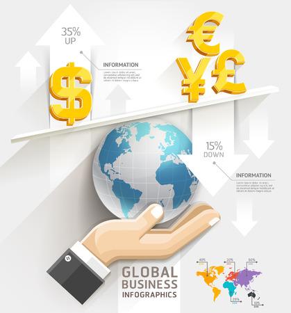 globális üzleti: Global business scale Infographics template.  Illusztráció
